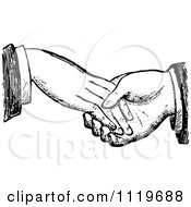 Clipart Of A Retro Vintage Black And White Dodgy Handshake 1 Royalty Free Vector Illustration