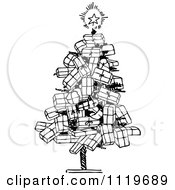 Clipart Of A Retro Vintage Black And White Christmas Tree Of Gifts Royalty Free Vector Illustration