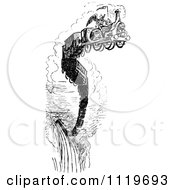 Clipart Of A Retro Vintage Black And White Grim Geaper On A Death Train Royalty Free Vector Illustration by Prawny Vintage