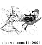 Clipart Of A Retro Vintage Black And White Man And Father Time In A Death Race Royalty Free Vector Illustration