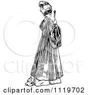 Clipart Of A Retro Vintage Black And White Masked Woman Holding A Fan Royalty Free Vector Illustration