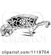 Clipart Of A Retro Vintage Black And White Ornate Wheelbarrow Royalty Free Vector Illustration