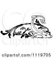 Clipart Of A Retro Vintage Black And White Ornate Fish Design Element Royalty Free Vector Illustration by Prawny Vintage