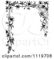 Clipart Of A Retro Vintage Black And White Passion Flower Frame Royalty Free Vector Illustration