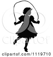 Clipart Of A Retro Vintage Black And White Silhouetted Girl Jumping Rope Royalty Free Vector Illustration