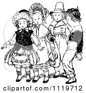 Clipart Of Retro Vintage Black And White Nervous Kids Royalty Free Vector Illustration