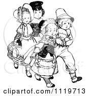 Clipart Of Retro Vintage Black And White Shy Children Royalty Free Vector Illustration