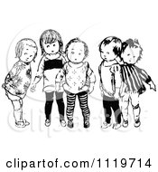 Clipart Of Retro Vintage Black And White Children Royalty Free Vector Illustration