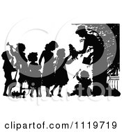 Clipart Of A Retro Vintage Silhouetted Woman Giving Christmas Toys To Children Royalty Free Vector Illustration