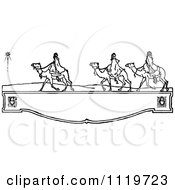 Clipart Of Retro Vintage Black And White Wisemen On A Shelf Royalty Free Vector Illustration