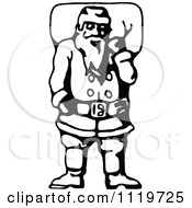 Clipart Of A Retro Vintage Black And White Santa Carrying His Christmas Sack 2 Royalty Free Vector Illustration