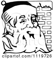 Clipart Of A Retro Vintage Black And White Santa Against Brick Royalty Free Vector Illustration