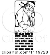 Clipart Of A Retro Vintage Black And White Santa In A Chimney Royalty Free Vector Illustration
