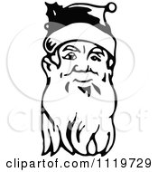 Clipart Of A Retro Vintage Black And White Santa Face With A Long Beard Royalty Free Vector Illustration