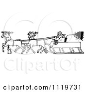 Clipart Of A Retro Vintage Black And White Santa In His Sleigh Royalty Free Vector Illustration