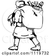 Clipart Of A Retro Vintage Black And White Santa Carrying His Christmas Sack 1 Royalty Free Vector Illustration