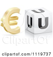 Clipart Of A 3d Gold Euro Symbol And U Cube Royalty Free Vector Illustration by Andrei Marincas
