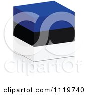 Clipart Of A 3d Estonian Flag Cube With A Reflection Royalty Free Vector Illustration