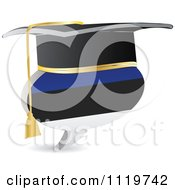 Clipart Of A 3d Graduation Estonian Flag Chat Balloon Royalty Free Vector Illustration by Andrei Marincas
