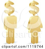 Clipart Of 3d Golden People With Dollar Symbol Heads Royalty Free Vector Illustration by Andrei Marincas