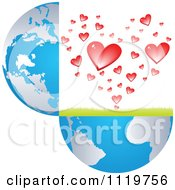 Clipart Of An Open Globe With Hearts Royalty Free Vector Illustration by Andrei Marincas