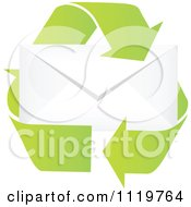 Clipart Of Recycle Arrows Around An Envelope Royalty Free Vector Illustration