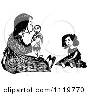 Clipart Of A Retro Vintage Black And White Girl Kissing Her Male Doll Royalty Free Vector Illustration by Prawny Vintage