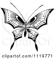 Clipart Of A Retro Vintage Black And White Butterfly Royalty Free Vector Illustration by Prawny Vintage