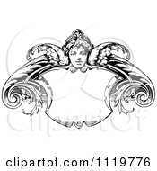 Clipart Of A Retro Vintage Black And White Angel Shield Frame Royalty Free Vector Illustration