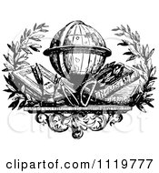 Clipart Of A Retro Vintage Black And White Desk Globe With Books Royalty Free Vector Illustration