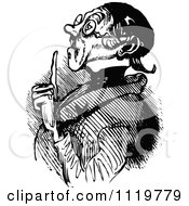 Clipart Of A Retro Vintage Black And White Old Man Holding Up A Finger Royalty Free Vector Illustration