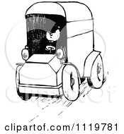 Clipart Of A Retro Vintage Black And White Man Driving A Van Royalty Free Vector Illustration