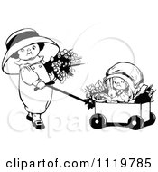 Clipart Of Retro Vintage Black And White Girls With Flowers A Rabbit And Wagon Royalty Free Vector Illustration by Prawny Vintage