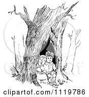 Retro Vintage Black And White Children Resting In A Tree