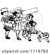 Clipart Of A Retro Vintage Black And White Kids With Flour Bread And A Dog Royalty Free Vector Illustration