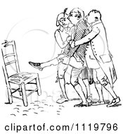 Clipart Of Retro Vintage Black And White Men Helping An Injured Man To A Chair Royalty Free Vector Illustration