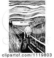 Clipart Of A Retro Vintage Black And White Screaming Man The Scream Royalty Free Vector Illustration