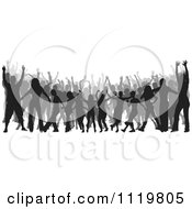 Clipart Of A Silhouetted Crowd Of Dancers 9 Royalty Free Vector Illustration