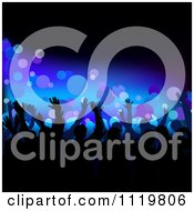 Clipart Of Silhouetted Dancers Over Blue With Bubbles Royalty Free Vector Illustration