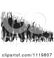 Clipart Of A Silhouetted Crowd Of Dancers 8 Royalty Free Vector Illustration