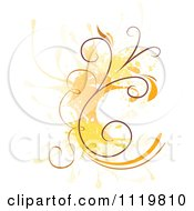 Clipart Of A Floral Design With Grunge And An Orange Splash Royalty Free Vector Illustration
