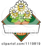 Cartoon Of A Happy White Daisy Flower Logo Or Sign Design With Copyspace And A Green Diamond Royalty Free Vector Clipart
