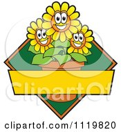 Cartoon Of A Happy Yellow Daisy Flower Logo Or Sign Design With Copyspace And A Green Diamond Royalty Free Vector Clipart