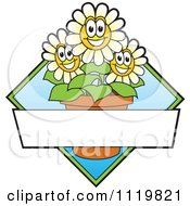 Cartoon Of A Happy Daisy Flower Logo Or Sign Design With Copyspace And A Blue Diamond Royalty Free Vector Clipart