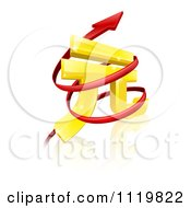 Clipart Of A 3d Golden Yuan Currency Symbol With Spiraling Arrows Royalty Free Vector Illustration