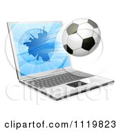 Clipart Of A Soccer Ball Flying Through And Shattering A 3d Laptop Screen Royalty Free Vector Illustration