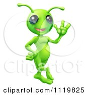 Cartoon Of A Friendly Green Alien Waving Hello Royalty Free Vector Clipart