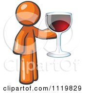Cartoon Of An Orange Man Wine Tasting And Giving A Toast Royalty Free Vector Clipart by Leo Blanchette