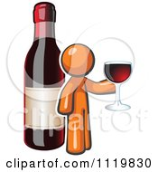 Cartoon Of An Orange Man Wine Tasting By A Giant Bottle Royalty Free Vector Clipart