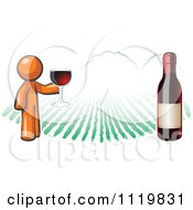 Cartoon Of An Orange Man Wine Tasting At A Winery Royalty Free Vector Clipart